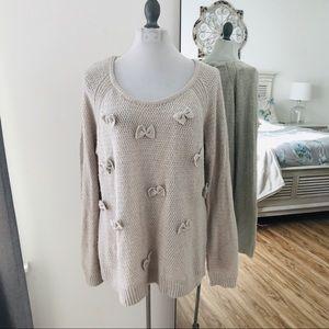 LC Lauren Conrad Runway Gray bow sweater size xxl